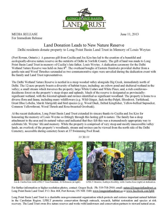 Delhi Wetland Nature Reserve  dedication - Media Release June 2013
